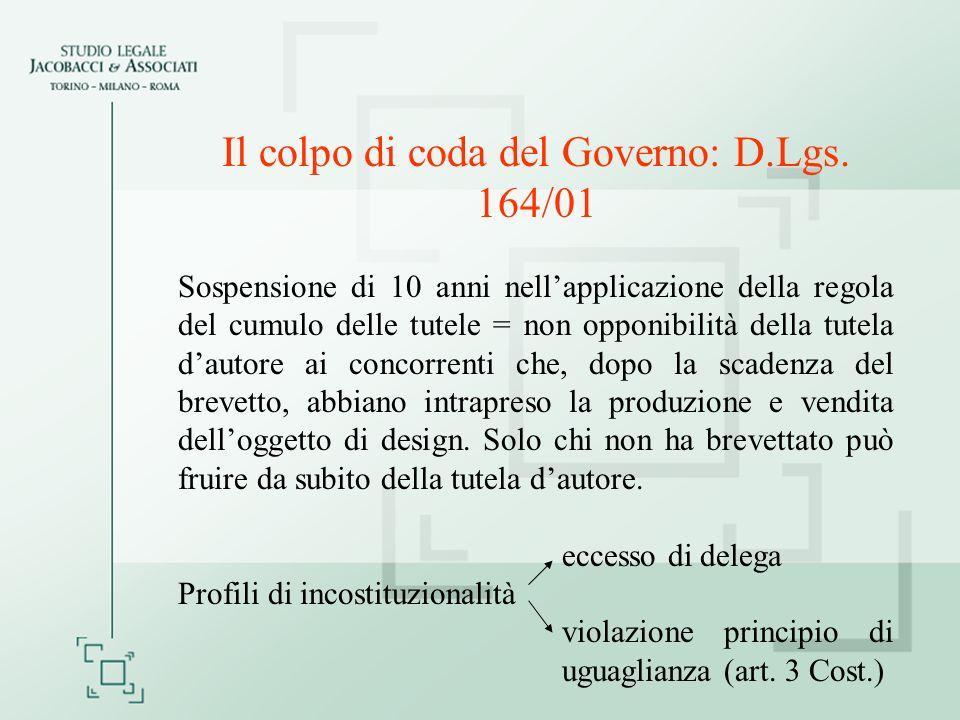 Il colpo di coda del Governo: D.Lgs. 164/01