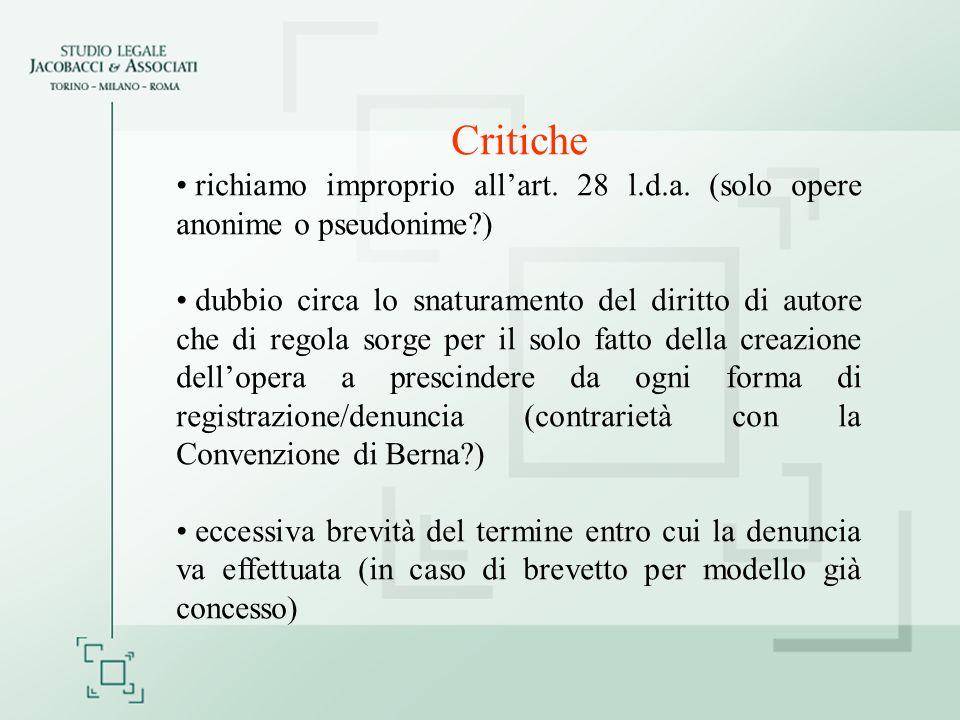 Critiche richiamo improprio all'art. 28 l.d.a. (solo opere anonime o pseudonime )