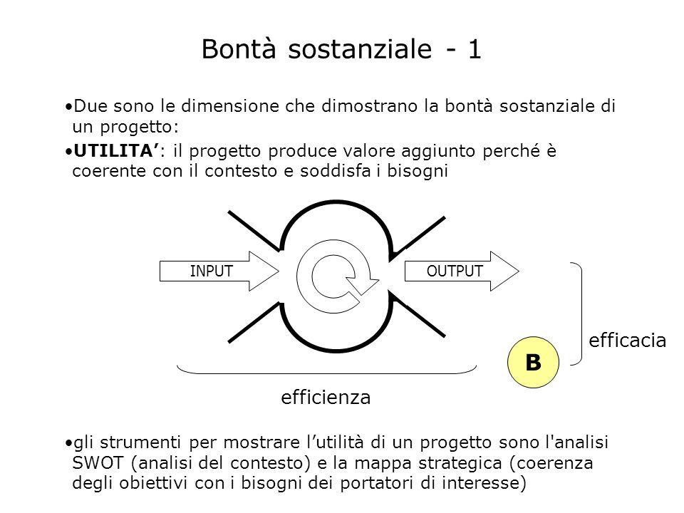 Bontà sostanziale - 1 B efficacia efficienza