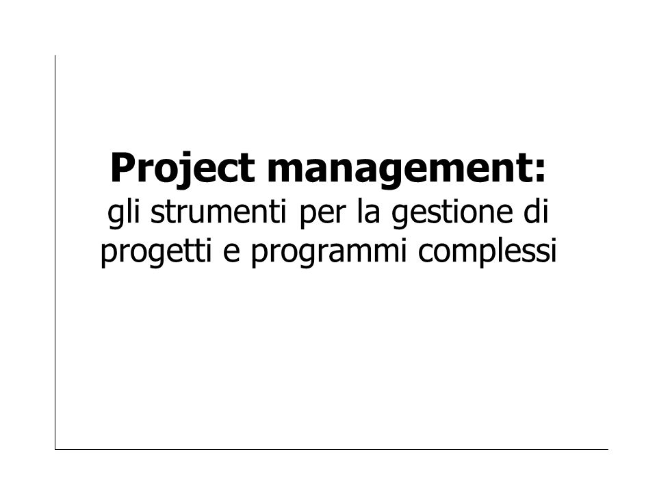 Project management: gli strumenti per la gestione di progetti e programmi complessi