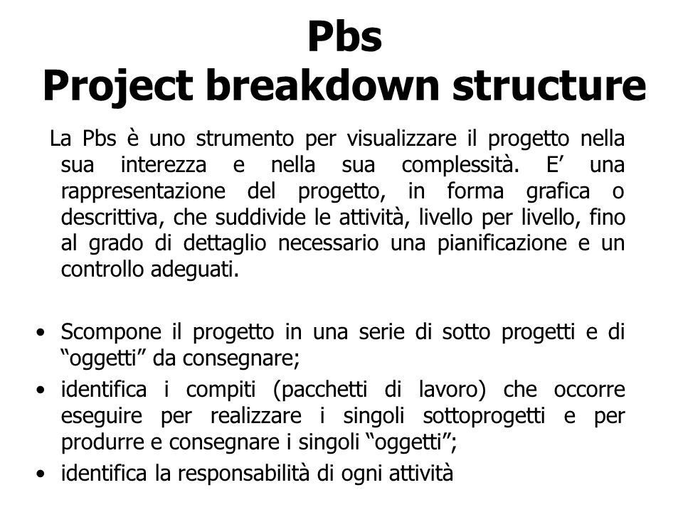 Pbs Project breakdown structure