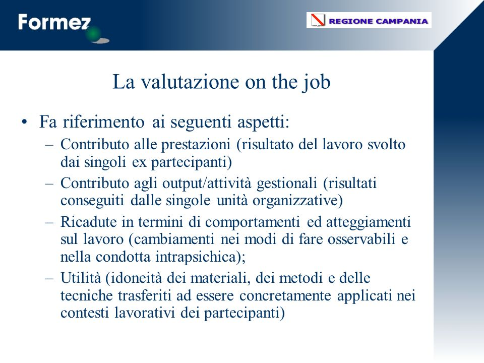 La valutazione on the job