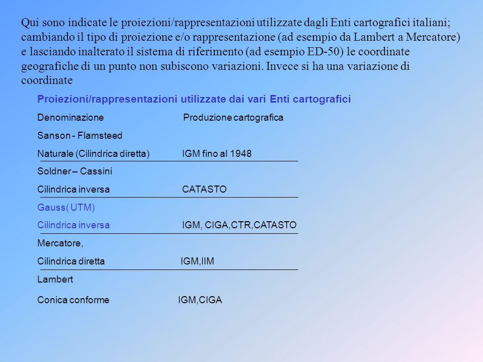 Qui sono indicate le proiezioni/rappresentazioni utilizzate dagli Enti cartografici italiani; cambiando il tipo di proiezione e/o rappresentazione (ad esempio da Lambert a Mercatore) e lasciando inalterato il sistema di riferimento (ad esempio ED-50) le coordinate geografiche di un punto non subiscono variazioni. Invece si ha una variazione di coordinate