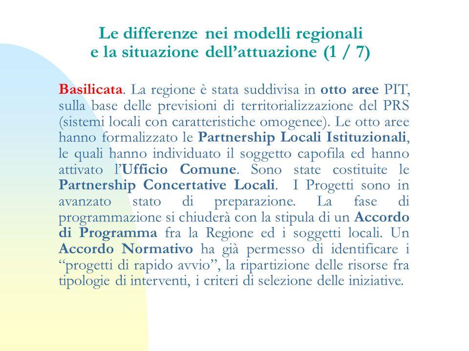 Le differenze nei modelli regionali e la situazione dell'attuazione (1 / 7)