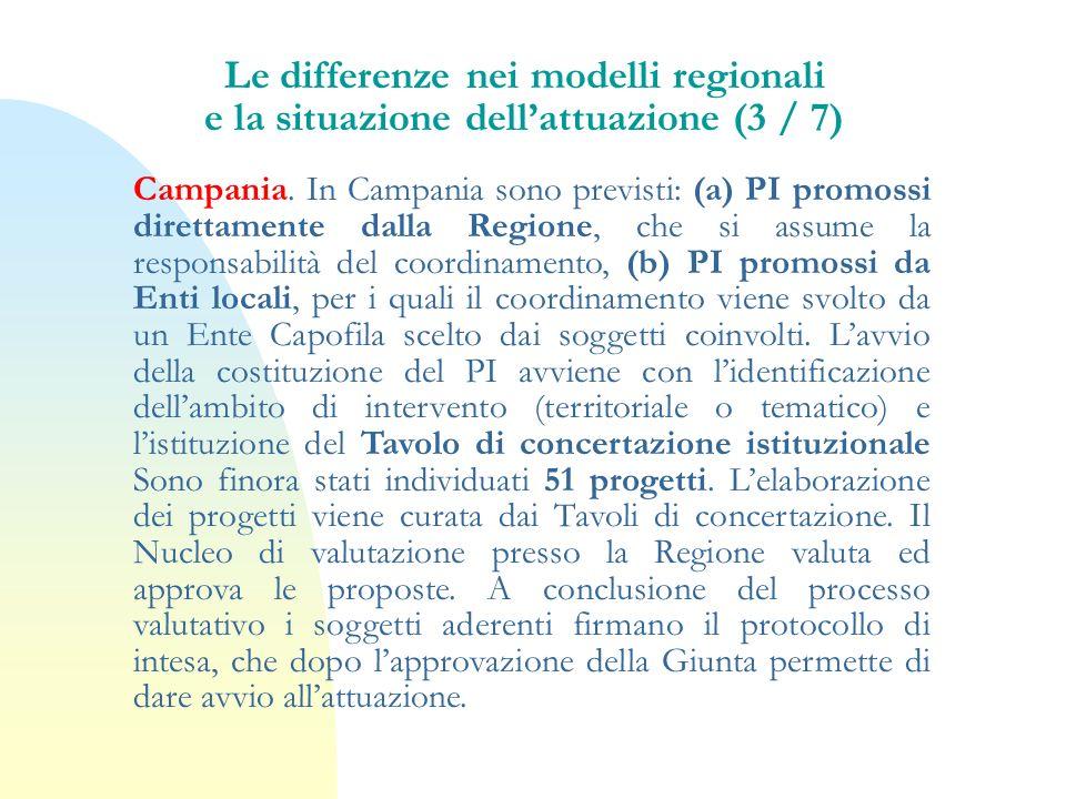 Le differenze nei modelli regionali e la situazione dell'attuazione (3 / 7)