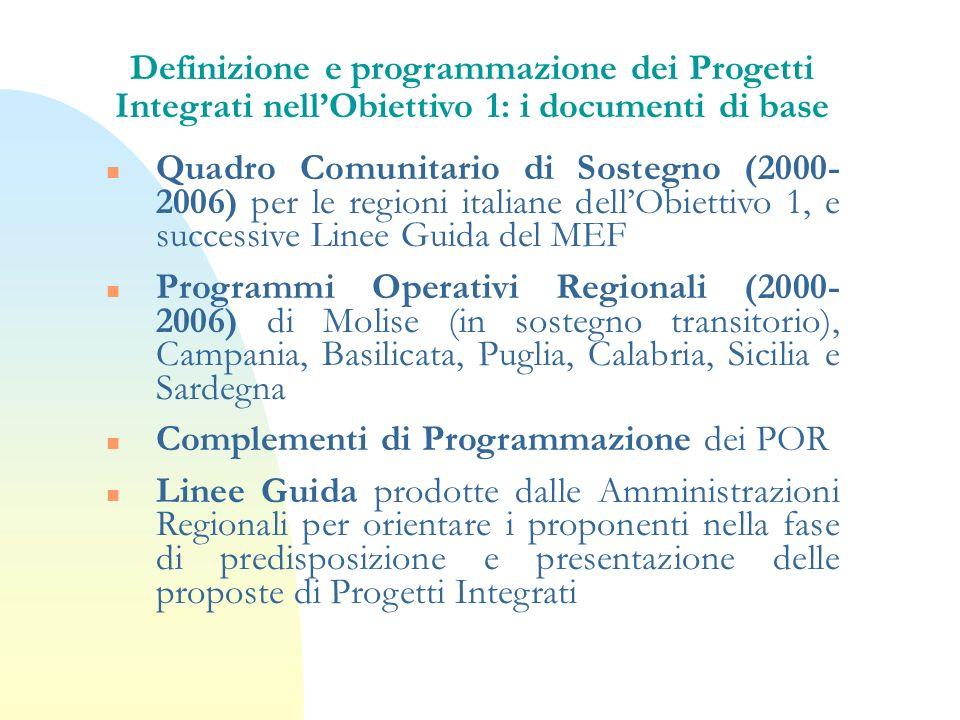 Definizione e programmazione dei Progetti Integrati nell'Obiettivo 1: i documenti di base