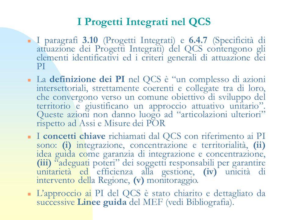 I Progetti Integrati nel QCS