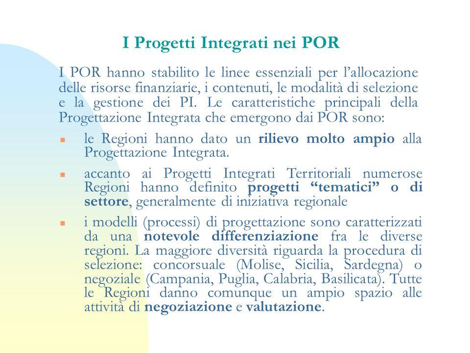 I Progetti Integrati nei POR