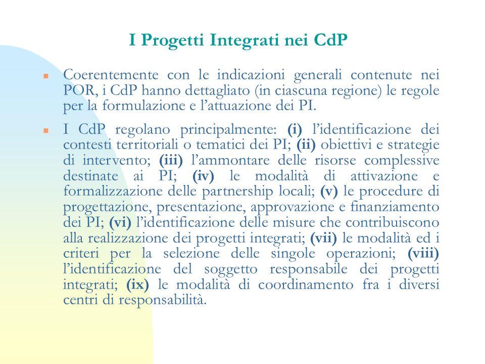 I Progetti Integrati nei CdP