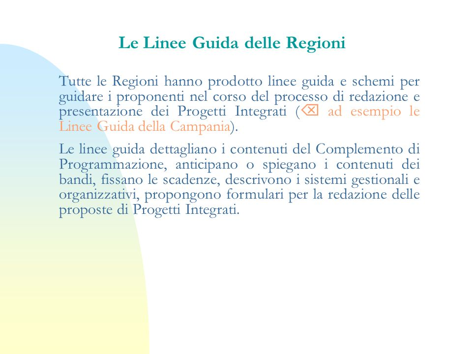 Le Linee Guida delle Regioni