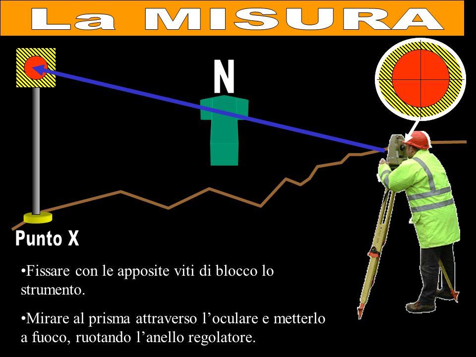La MISURA N. Punto X. Fissare con le apposite viti di blocco lo strumento.