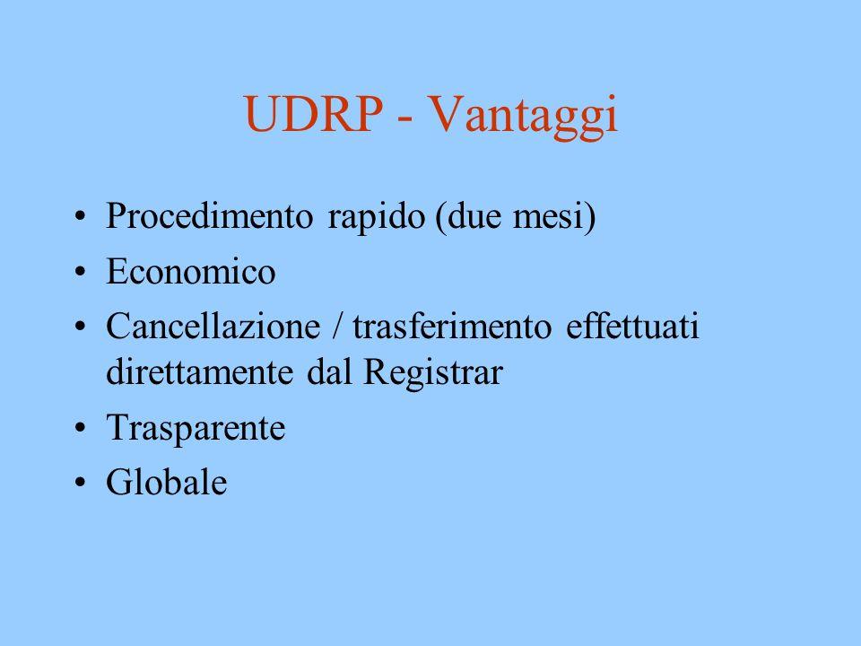 UDRP - Vantaggi Procedimento rapido (due mesi) Economico