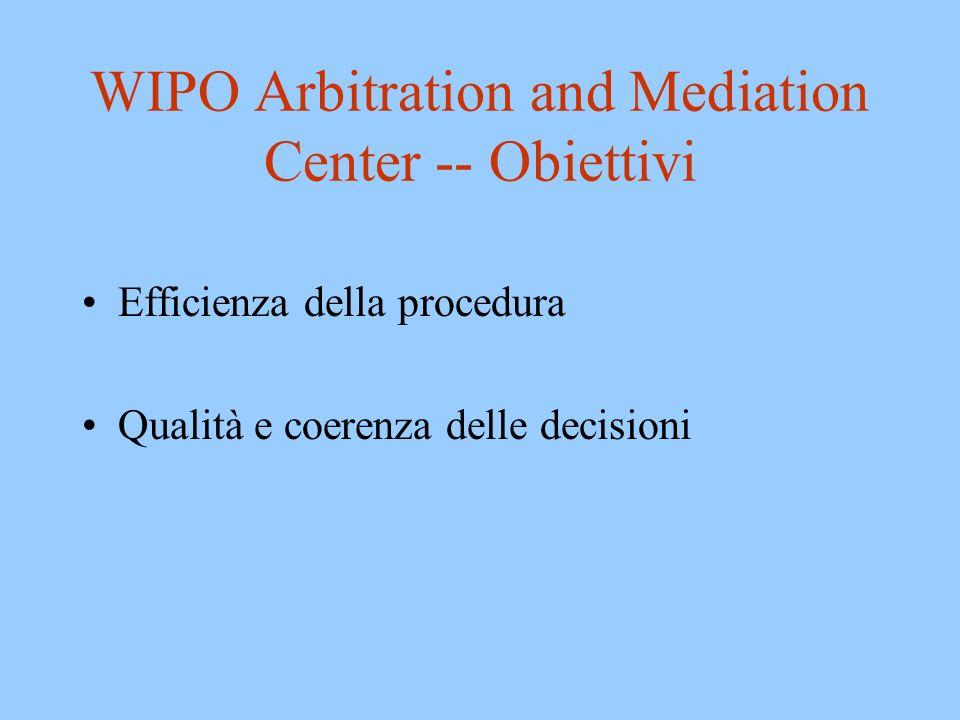 WIPO Arbitration and Mediation Center -- Obiettivi