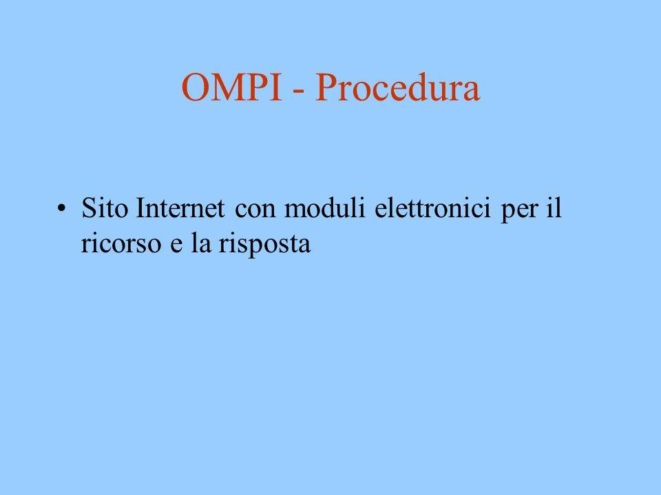 OMPI - Procedura Sito Internet con moduli elettronici per il ricorso e la risposta