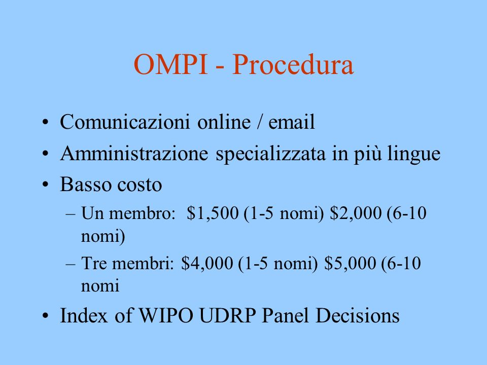 OMPI - Procedura Comunicazioni online / email