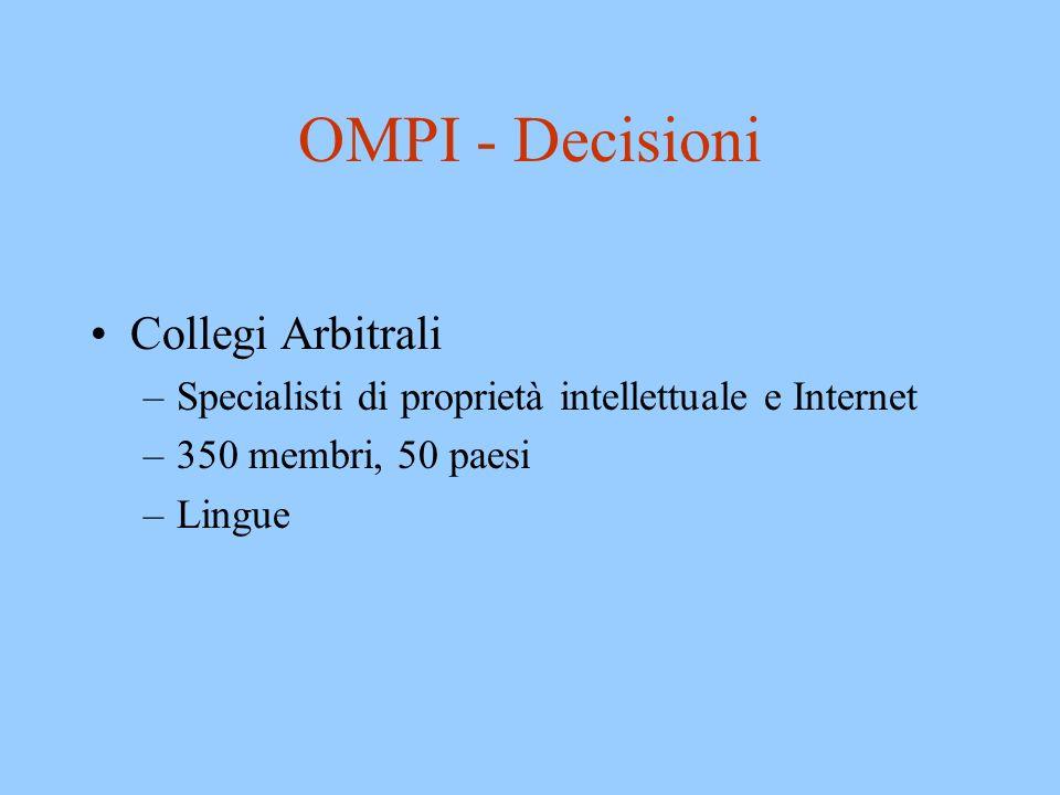 OMPI - Decisioni Collegi Arbitrali