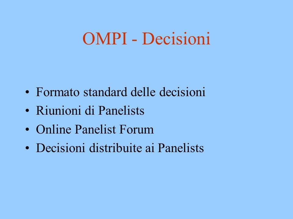 OMPI - Decisioni Formato standard delle decisioni