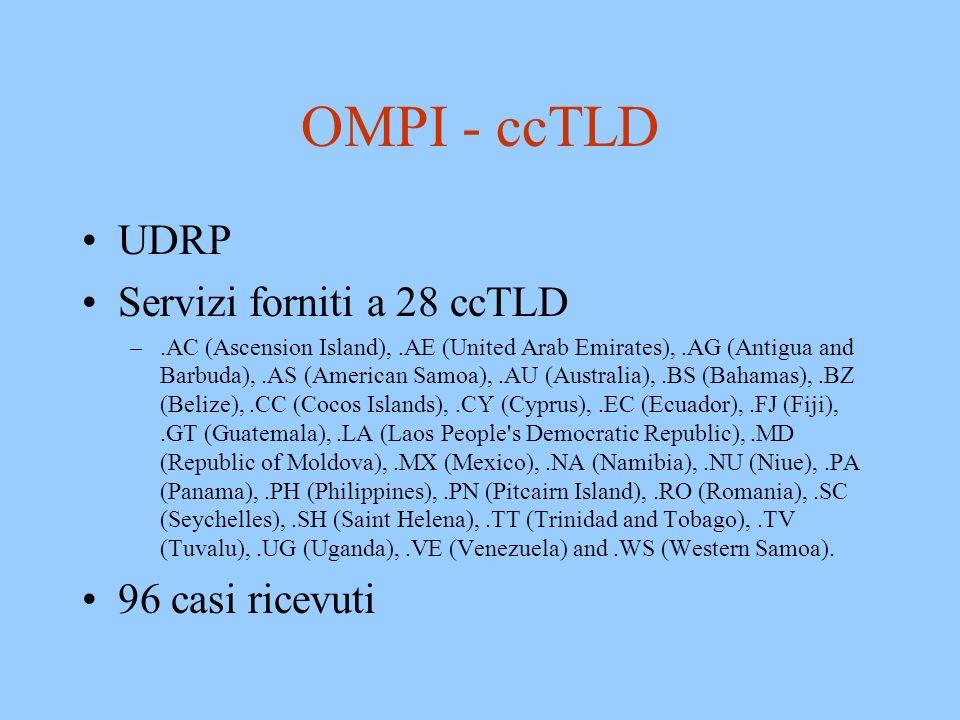 OMPI - ccTLD UDRP Servizi forniti a 28 ccTLD 96 casi ricevuti