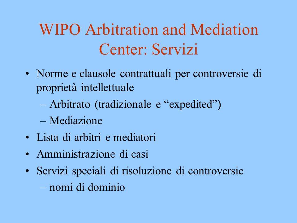 WIPO Arbitration and Mediation Center: Servizi