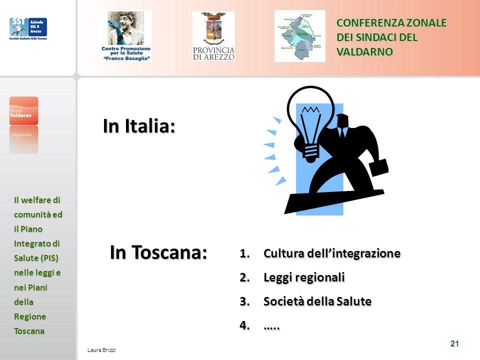 In Italia: In Toscana: Cultura dell'integrazione Leggi regionali