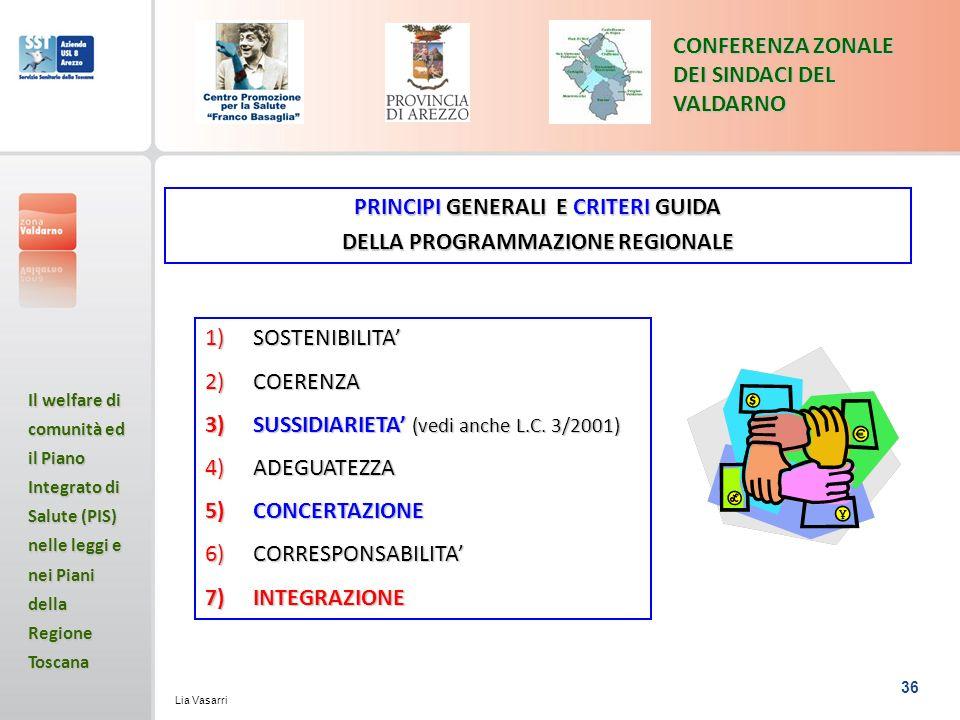 PRINCIPI GENERALI E CRITERI GUIDA DELLA PROGRAMMAZIONE REGIONALE