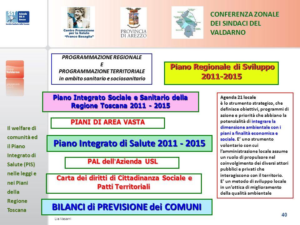 Piano Integrato di Salute 2011 - 2015 BILANCI di PREVISIONE dei COMUNI