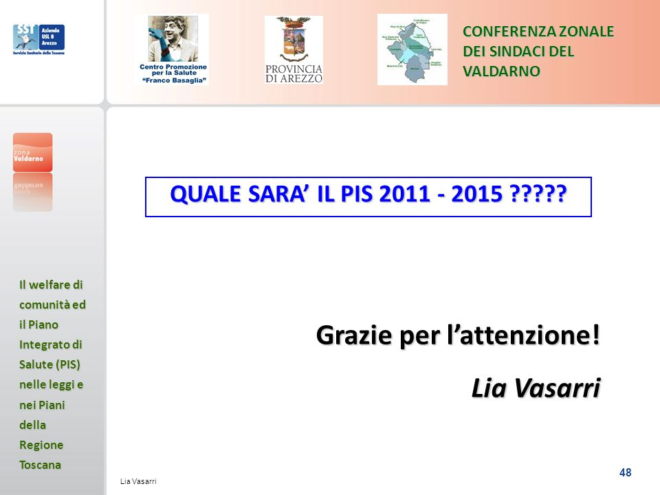 Grazie per l'attenzione! Lia Vasarri
