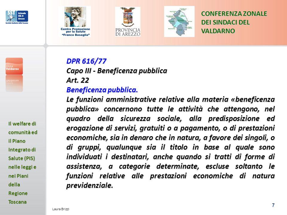 Capo III - Beneficenza pubblica Art. 22 Beneficenza pubblica.