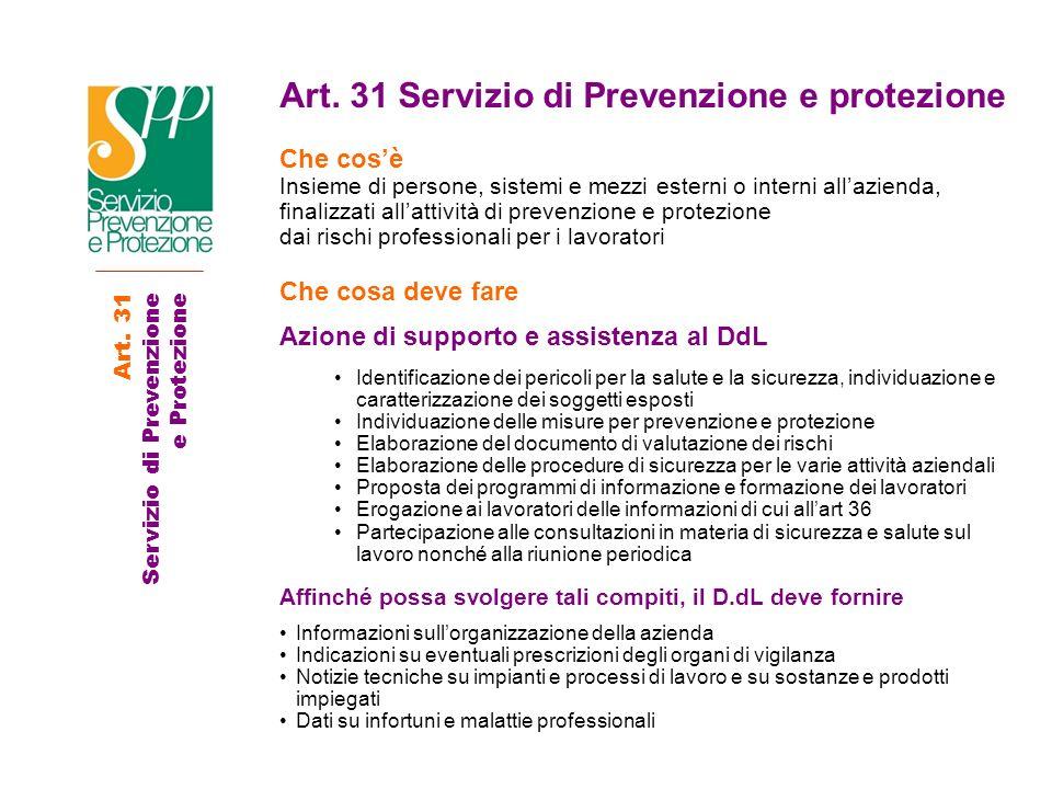 Art. 31 Servizio di Prevenzione e protezione