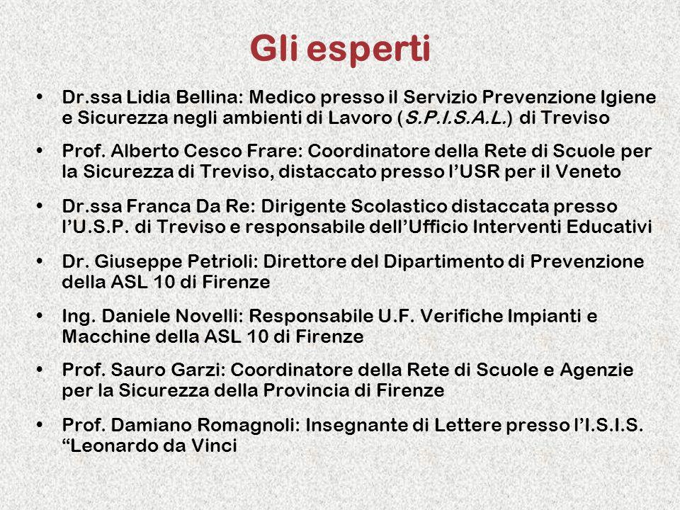 Gli esperti Dr.ssa Lidia Bellina: Medico presso il Servizio Prevenzione Igiene e Sicurezza negli ambienti di Lavoro (S.P.I.S.A.L.) di Treviso.