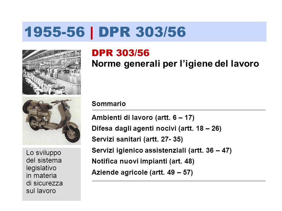 1955-56 | DPR 303/56 DPR 303/56 Norme generali per l'igiene del lavoro