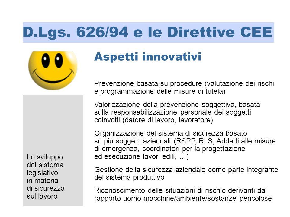 D.Lgs. 626/94 e le Direttive CEE