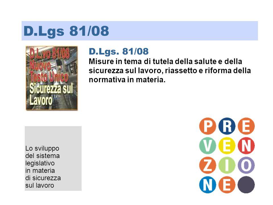 D.Lgs 81/08 D.Lgs. 81/08. Misure in tema di tutela della salute e della sicurezza sul lavoro, riassetto e riforma della normativa in materia.