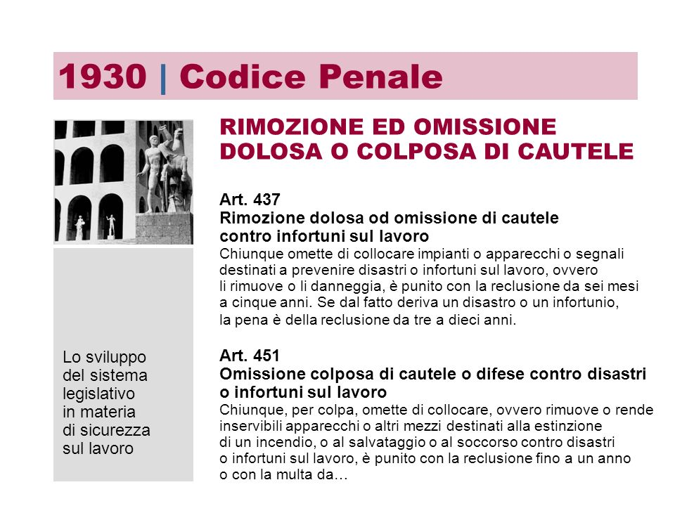 1930 | Codice Penale RIMOZIONE ED OMISSIONE