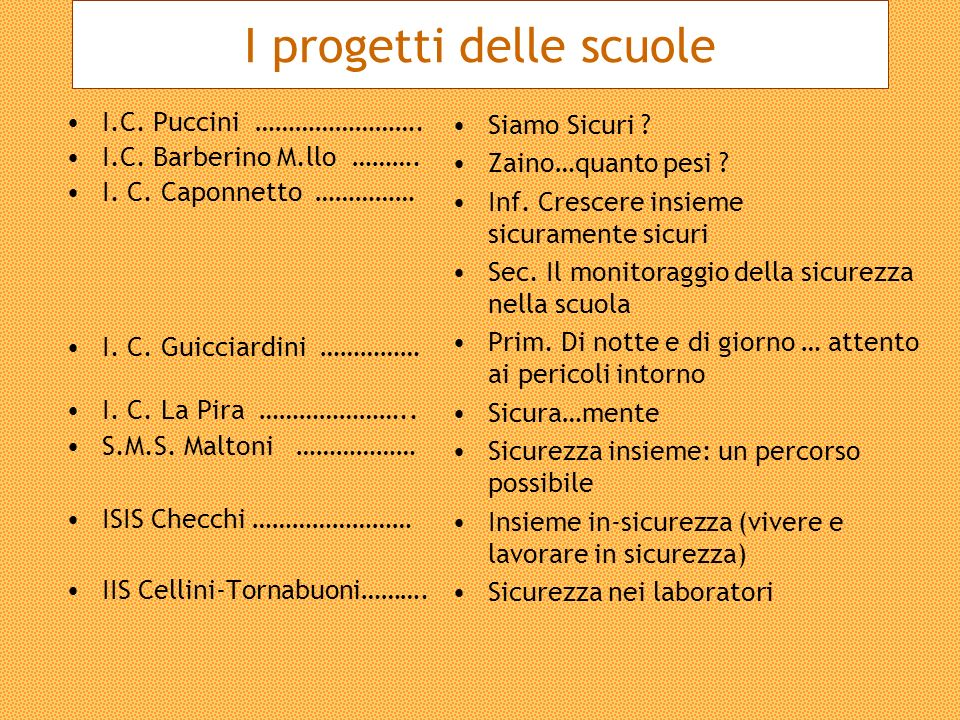 I progetti delle scuole