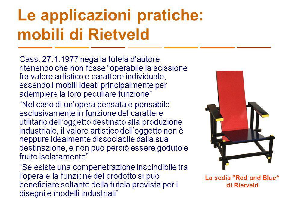 Le applicazioni pratiche: mobili di Rietveld