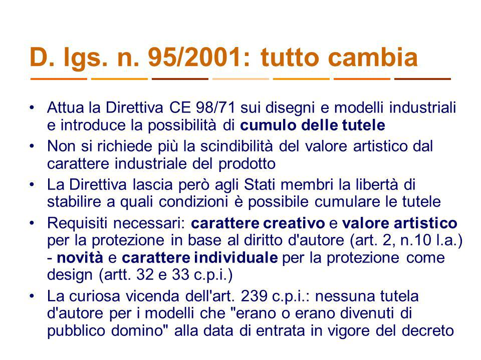 27/03/2017 D. lgs. n. 95/2001: tutto cambia.