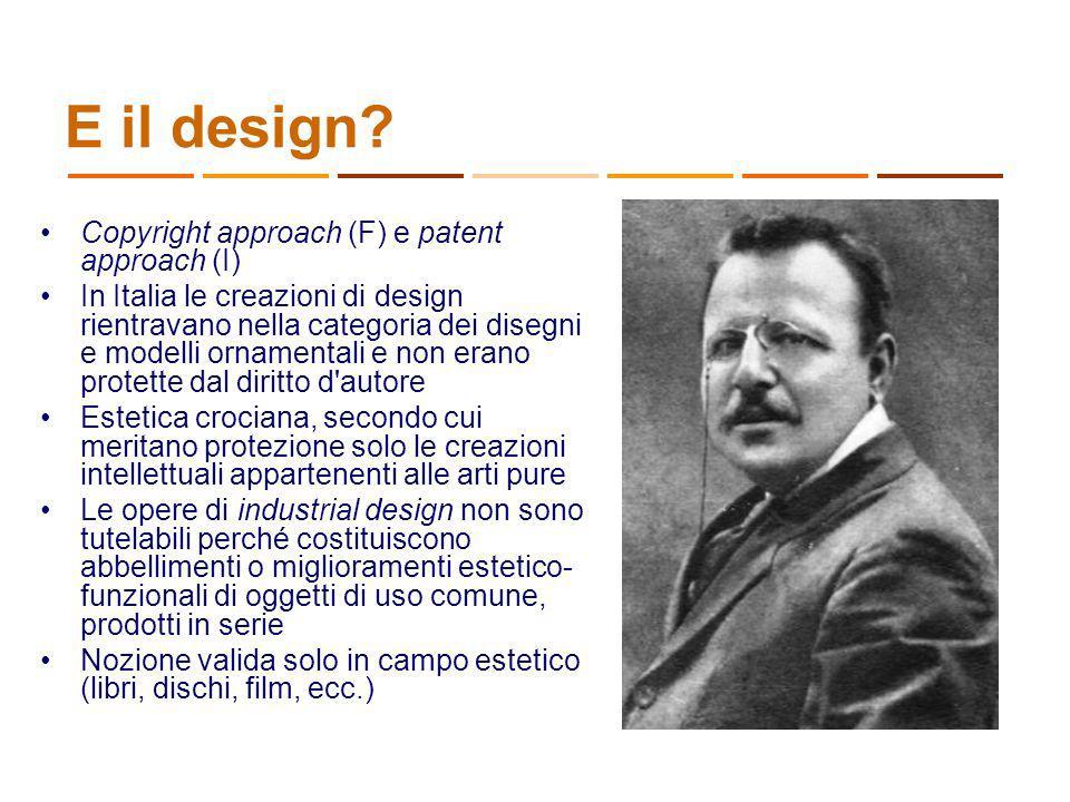 E il design Copyright approach (F) e patent approach (I)