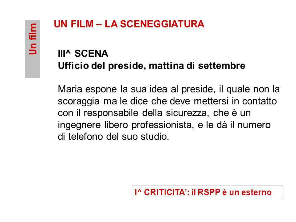 UN FILM – LA SCENEGGIATURA Un film