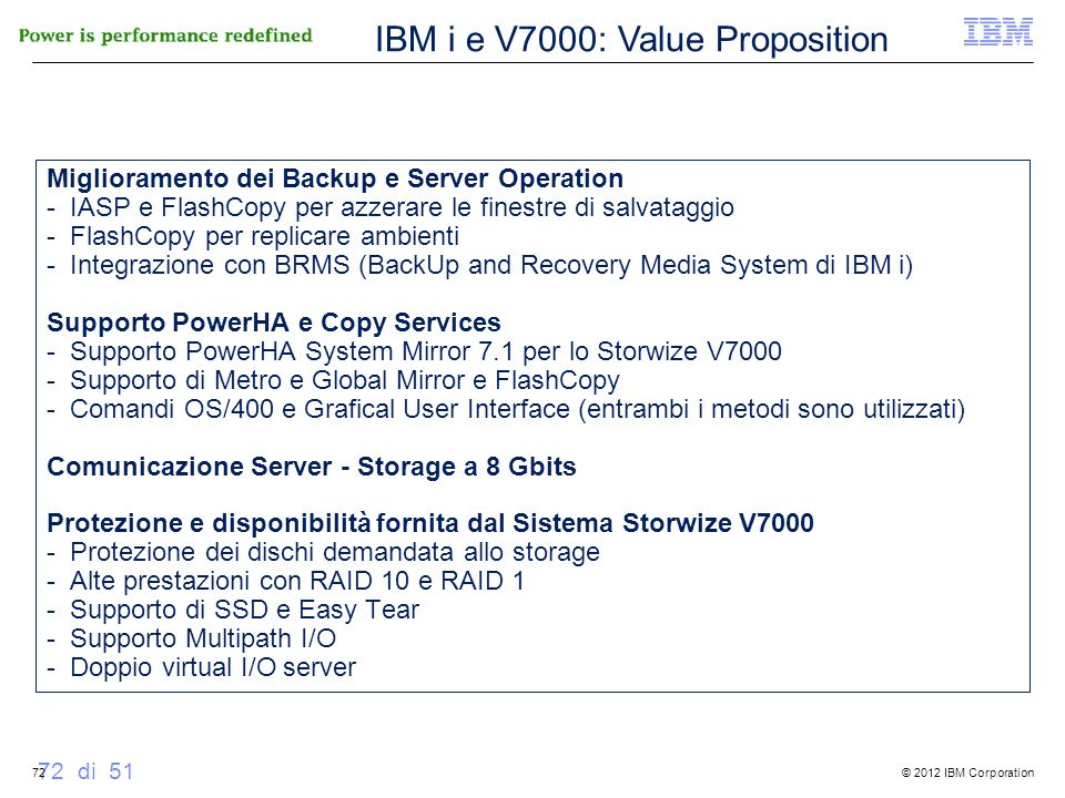IBM i e V7000: Value Proposition