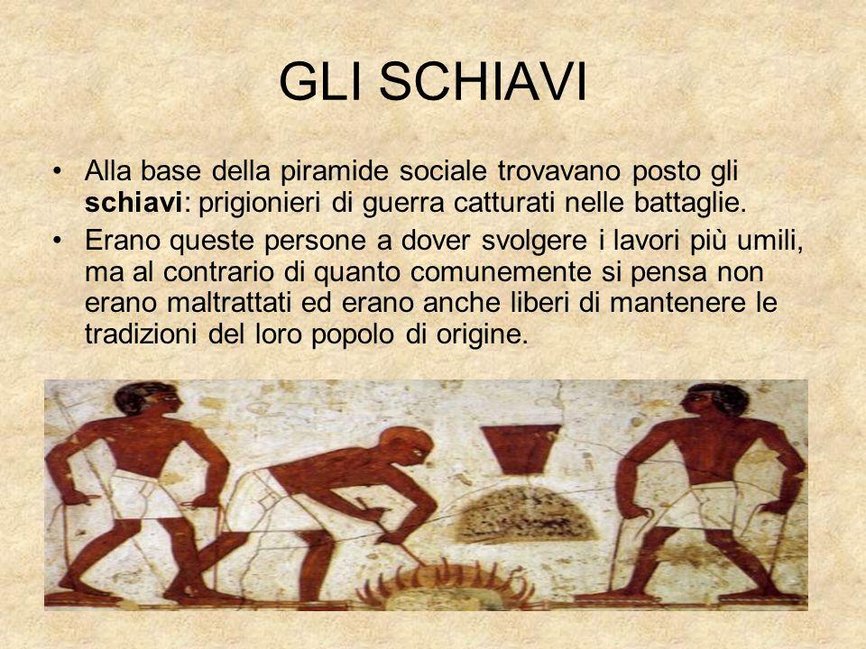 GLI SCHIAVI Alla base della piramide sociale trovavano posto gli schiavi: prigionieri di guerra catturati nelle battaglie.