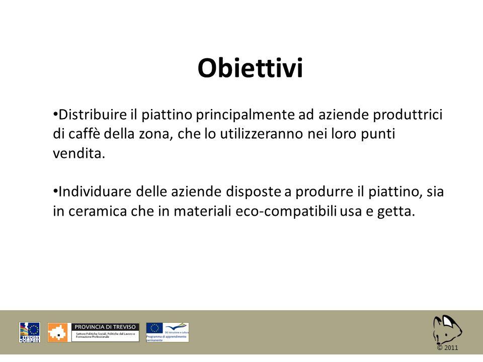Obiettivi Distribuire il piattino principalmente ad aziende produttrici di caffè della zona, che lo utilizzeranno nei loro punti vendita.