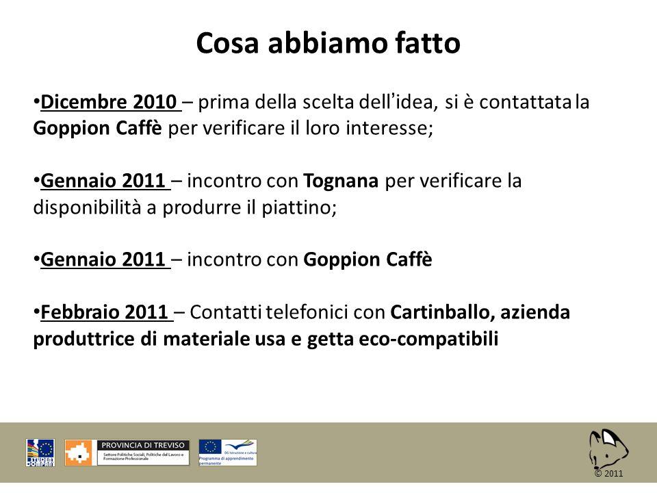 Cosa abbiamo fatto Dicembre 2010 – prima della scelta dell'idea, si è contattata la Goppion Caffè per verificare il loro interesse;