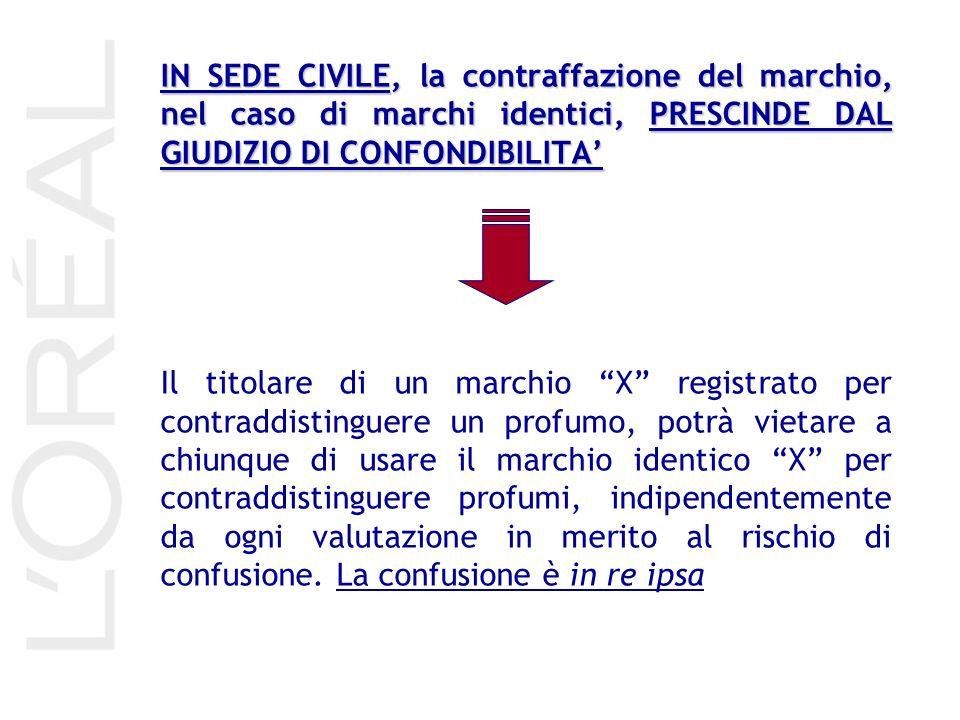 IN SEDE CIVILE, la contraffazione del marchio, nel caso di marchi identici, PRESCINDE DAL GIUDIZIO DI CONFONDIBILITA'