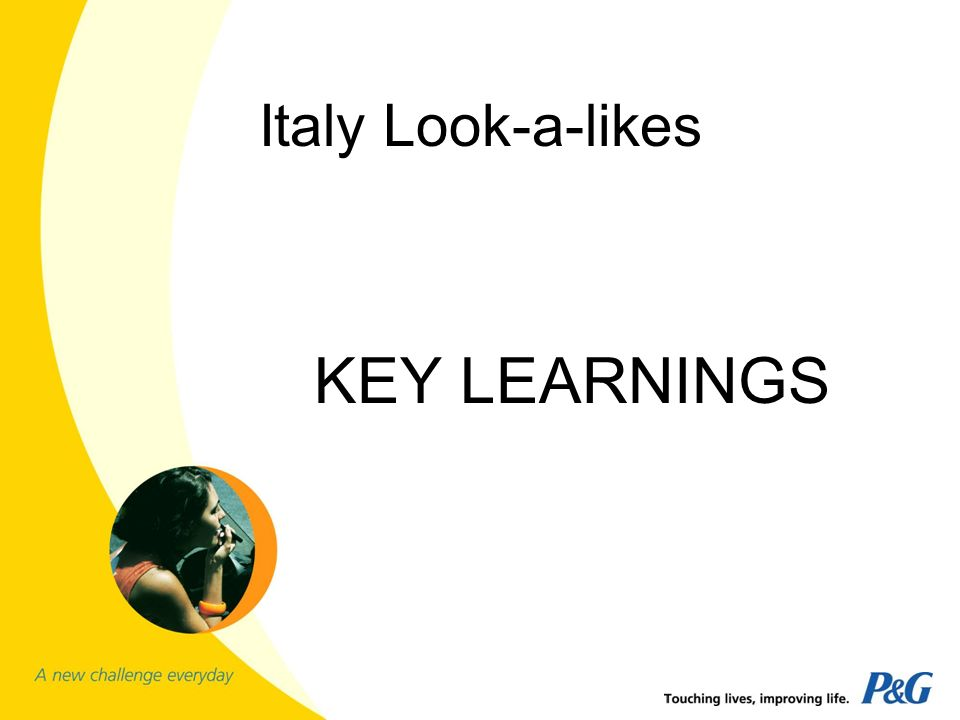 Italy Look-a-likes KEY LEARNINGS