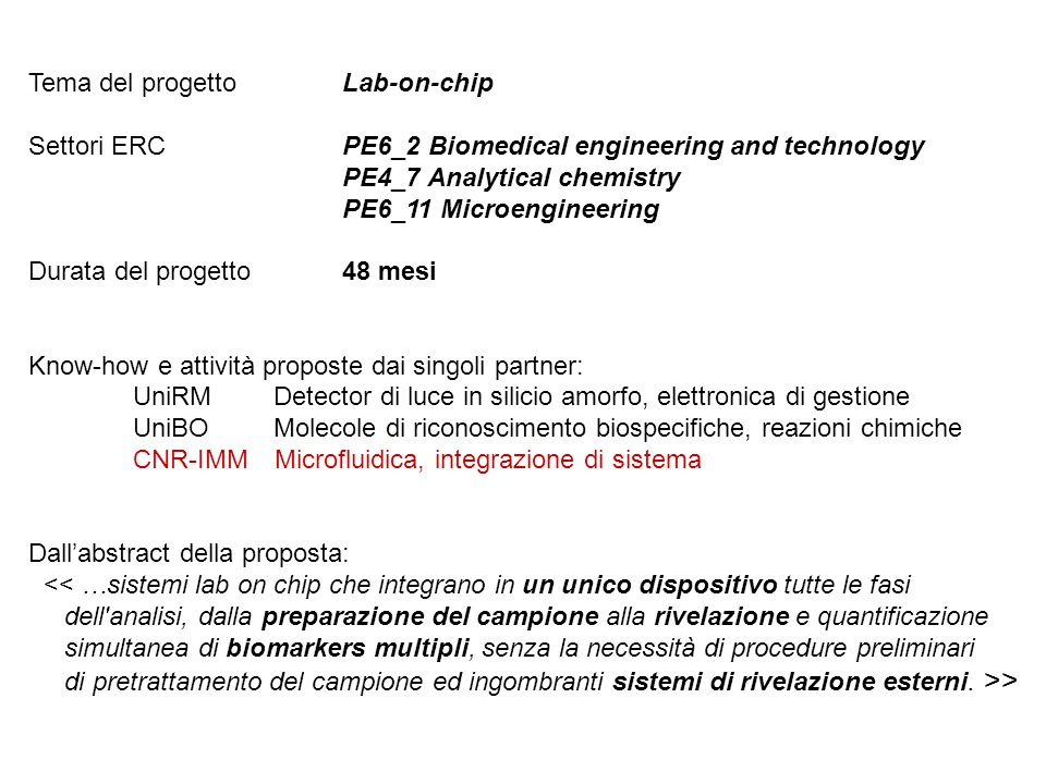 Tema del progetto Lab-on-chip