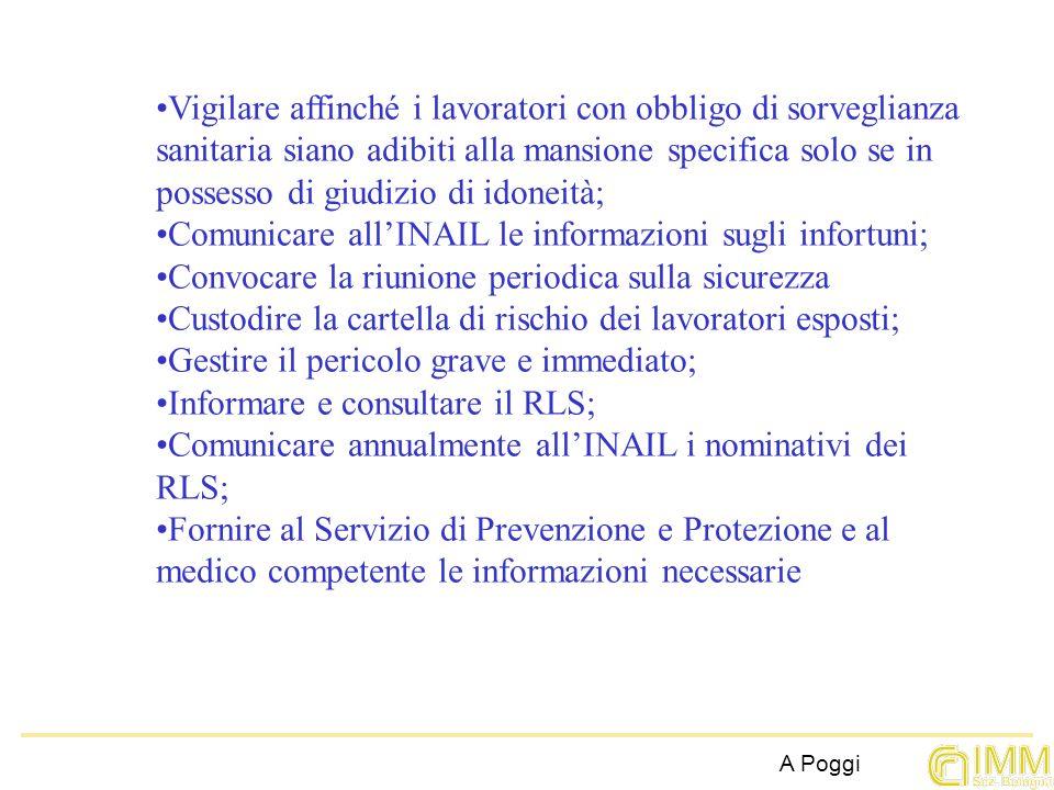 Vigilare affinché i lavoratori con obbligo di sorveglianza sanitaria siano adibiti alla mansione specifica solo se in possesso di giudizio di idoneità;