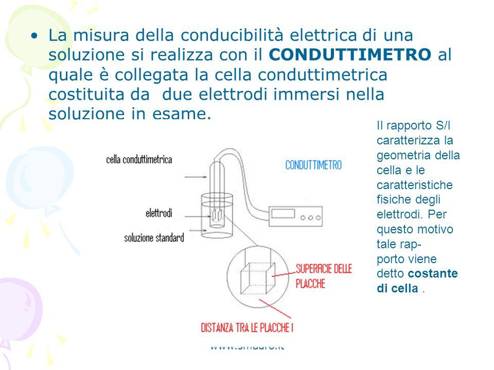 La misura della conducibilità elettrica di una soluzione si realizza con il CONDUTTIMETRO al quale è collegata la cella conduttimetrica costituita da due elettrodi immersi nella soluzione in esame.