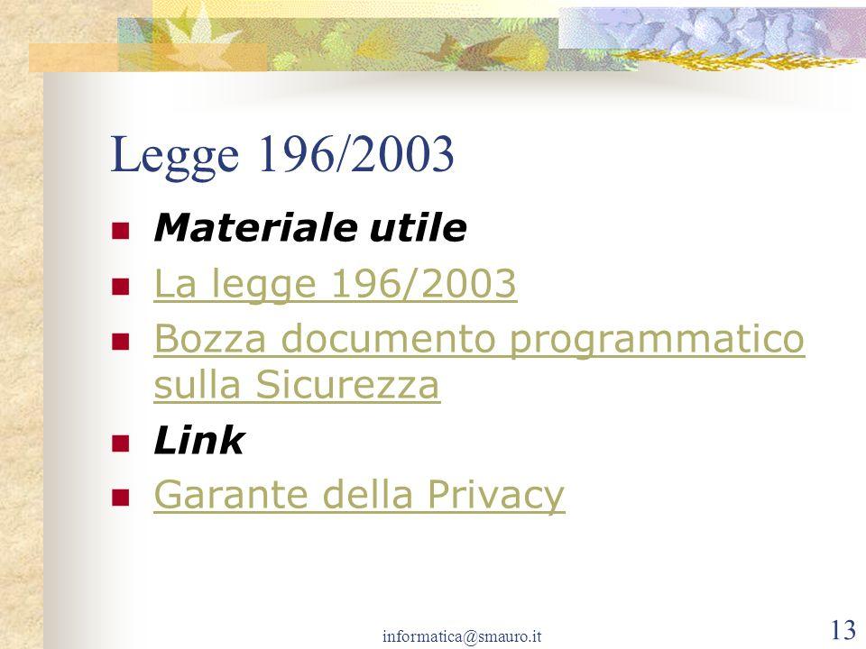 Legge 196/2003 Materiale utile La legge 196/2003