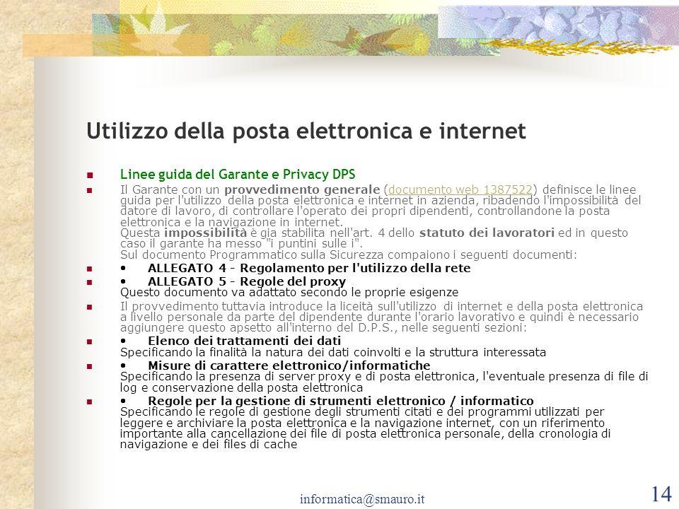 Utilizzo della posta elettronica e internet